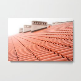 Overlapping rows of red tiles roof Metal Print