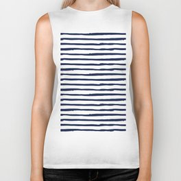 Navy Blue Stripes on White Biker Tank
