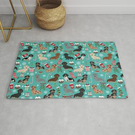 Dachshund Christmas festive doxie pet portrait holiday themed dog lover must haves Rug