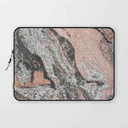 Pastel coral gray white abstract vintage marble Laptop Sleeve