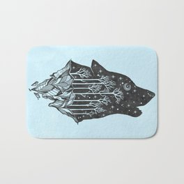 Adventure Wolf - Nature Mountains Wolves Howling Design Black on Turquoise Blue Bath Mat