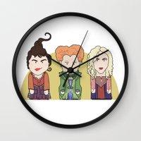 hocus pocus Wall Clocks featuring Hocus Pocus by Big Purple Glasses