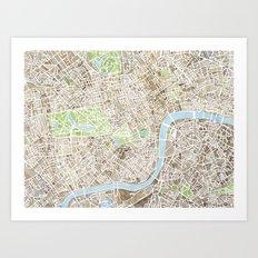 London Sepia watercolor map Art Print