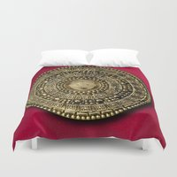 gladiator Duvet Covers featuring Roman Gladiator Shield - Trick or Treat bag by Joel M Young