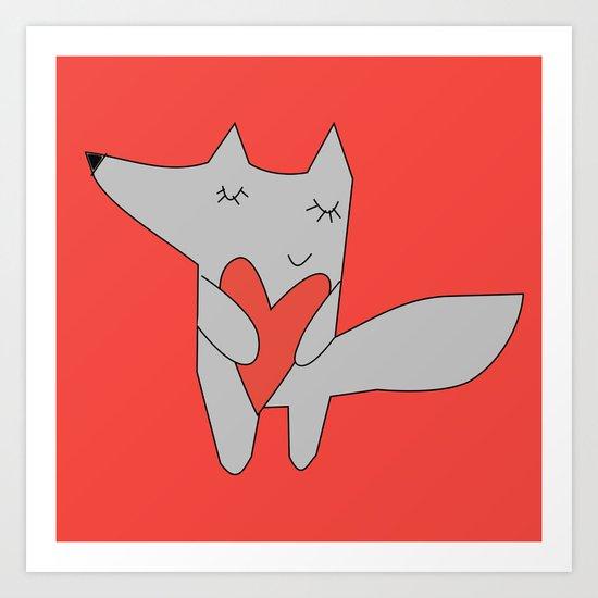 Fox in love red Art Print