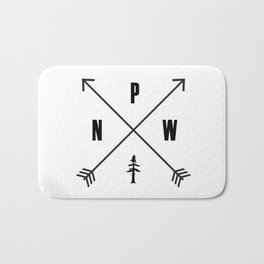 PNW Pacific Northwest Compass - Black and White Forest Bath Mat