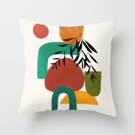 'Afternoon At The Park' Abstract Geometric Shapes Paper Collage Colorful Arrangement Mid Century Modern Cool Funky Style by Ejaaz Haniff Throw Pillow
