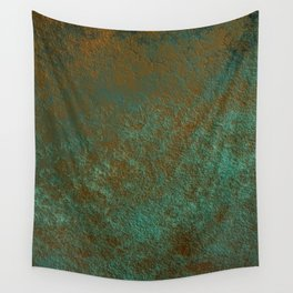 Green Patina Copper rustic decor Wall Tapestry