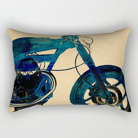 Metalic Blue Rectangular Pillow