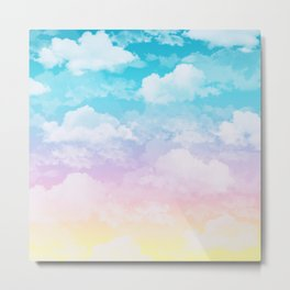 Little Fluffy Clouds Pastel Sky Metal Print