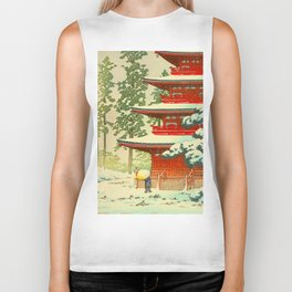 Vintage Japanese Woodblock Print Japanese Shinto Shrine Red Pagoda With Snow Capped Trees Biker Tank