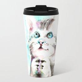 Happy Prayig Kitty - Cat Watercolour Travel Mug