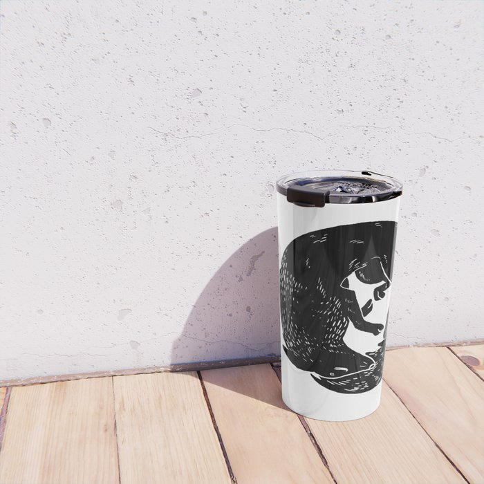 black and white thoughts Travel Mug
