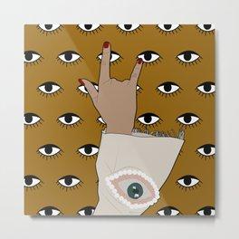 Eye Love You Fashion Sleeve on Golden Eye Pattern Background Metal Print