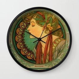 "Alphonse Mucha ""Laurel"" Wall Clock"