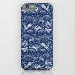 Hares Field, Winter Animals Rabbits Pattern Wool Texture Navy Blue iPhone Case