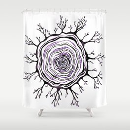 Watercolor Tree Ring, Purple Shower Curtain