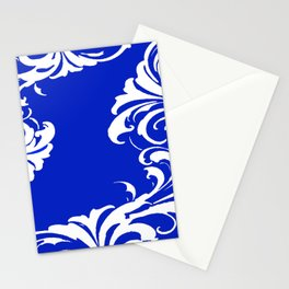 Damask Blue and White Victorian Swirl Damask Pattern Stationery Cards