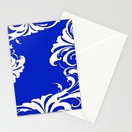 Damask Blue and White Victorian Swirl Damask Pattern Stationery Cards