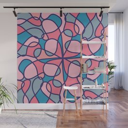 Artsy Modern Girly Coral Blue Abstract Geometric Wall Mural