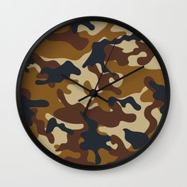 Brown Army Camo Camouflage Pattern Wall Clock