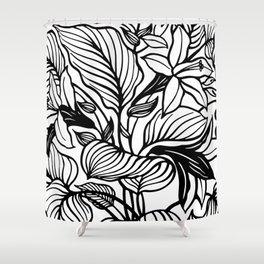 White Black Floral Minimalist Shower Curtain