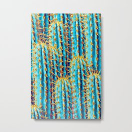 Neon Gold Cactus Metal Print