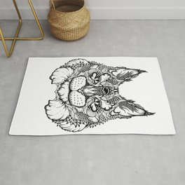 CAT maine coon  / LYNX head. psychedelic / zentangle style Rug