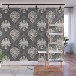 Floral Damask Pattern – Neutral Dark Gray Wall Mural