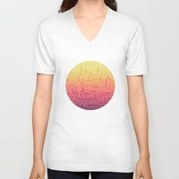 skyline V-neck T-shirts featuring Skyline by Rick Crane
