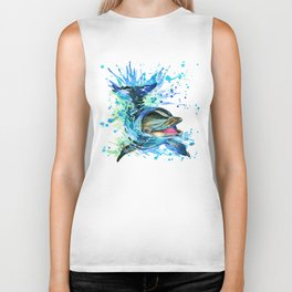 Watercolor Dolphin Biker Tank