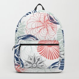 Floral Pattern in Coral Red, Navy Blue and Aqua Backpack