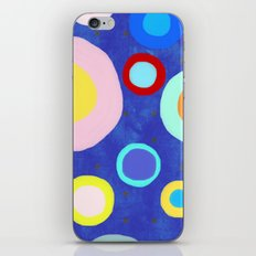 Marine Blue Watercolour Happy Circles iPhone & iPod Skin