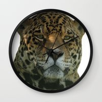 jaguar Wall Clocks featuring Jaguar by Sean Foreman
