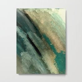 Green Thumb - an abstract mixed media piece in greens and blues Metal Print