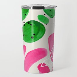 Fun Mid Century Modern Abstract Minimalist Vintage Pink Green Color Harmony Organic Shapes Travel Mug