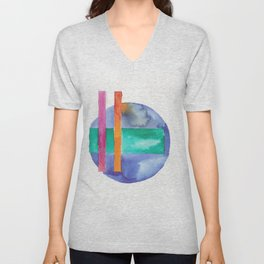 180818 Geometrical Watercolour 7| Colorful Abstract | Modern Watercolor Art Unisex V-Neck