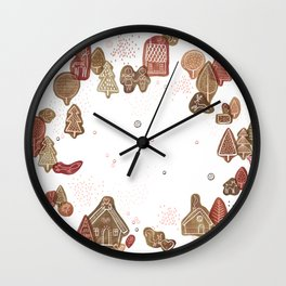 Hansel and Gretel Fairy Tale Gingerbread Pattern on White Wall Clock