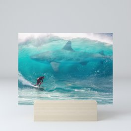 Surfing with a Giant Shark Mini Art Print