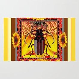 BEETLE & YELLOW SUNFLOWERS YELLOW DESIGN Rug