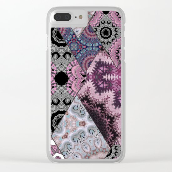 The national pattern in the patchwork . Purple soft grey and blue colours. Clear iPhone Case
