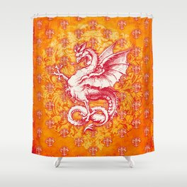 Noble House GINGER FIRE / Grungy heraldry design Shower Curtain