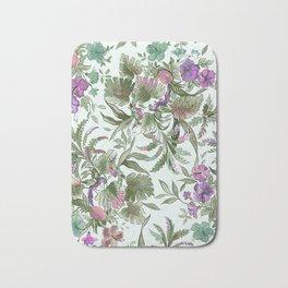 mint tropical floral Bath Mat