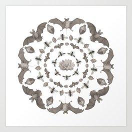 Bats Mandala Art Print