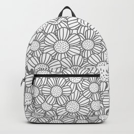 Field of daisies - gray Backpack