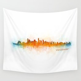 Vancouver Canada City Skyline Hq v03 Wall Tapestry