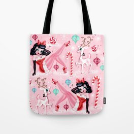 Christmas Pinup Girl with Reindeer Tote Bag