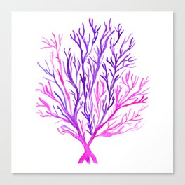 Pink Purple Seaweed Watercolour Canvas Print