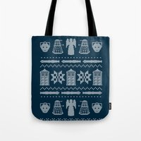 sweater Tote Bags featuring Who's Sweater by Mandrie