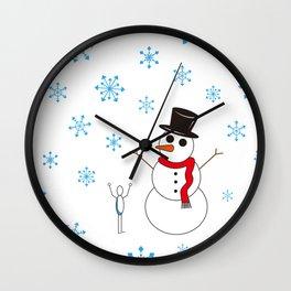 Snowman Rock Paper Scissor Wall Clock